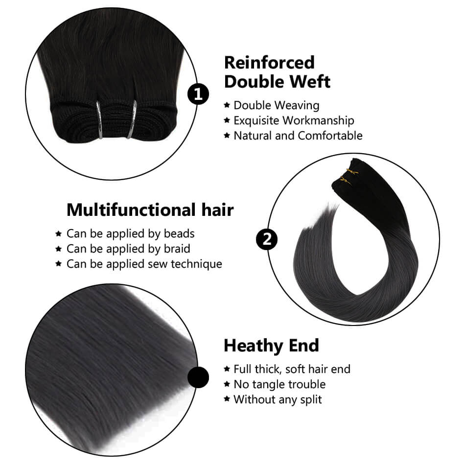 hair weft sew in hair black and silver