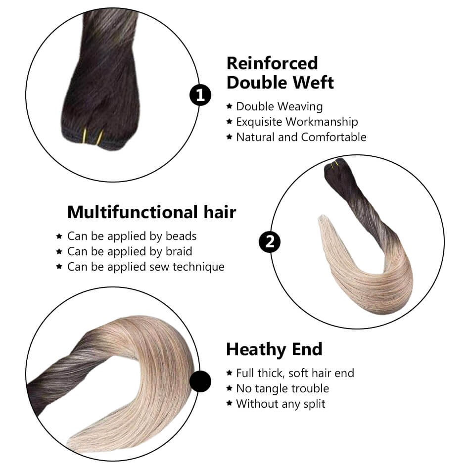 hair weft sew in hair hand tied weft