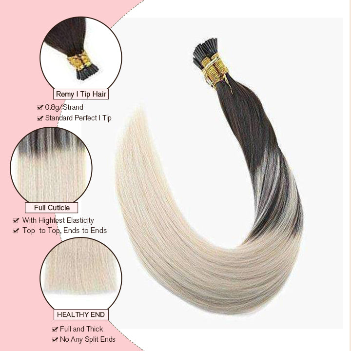 2 60 brown and blonde i tip hair extension