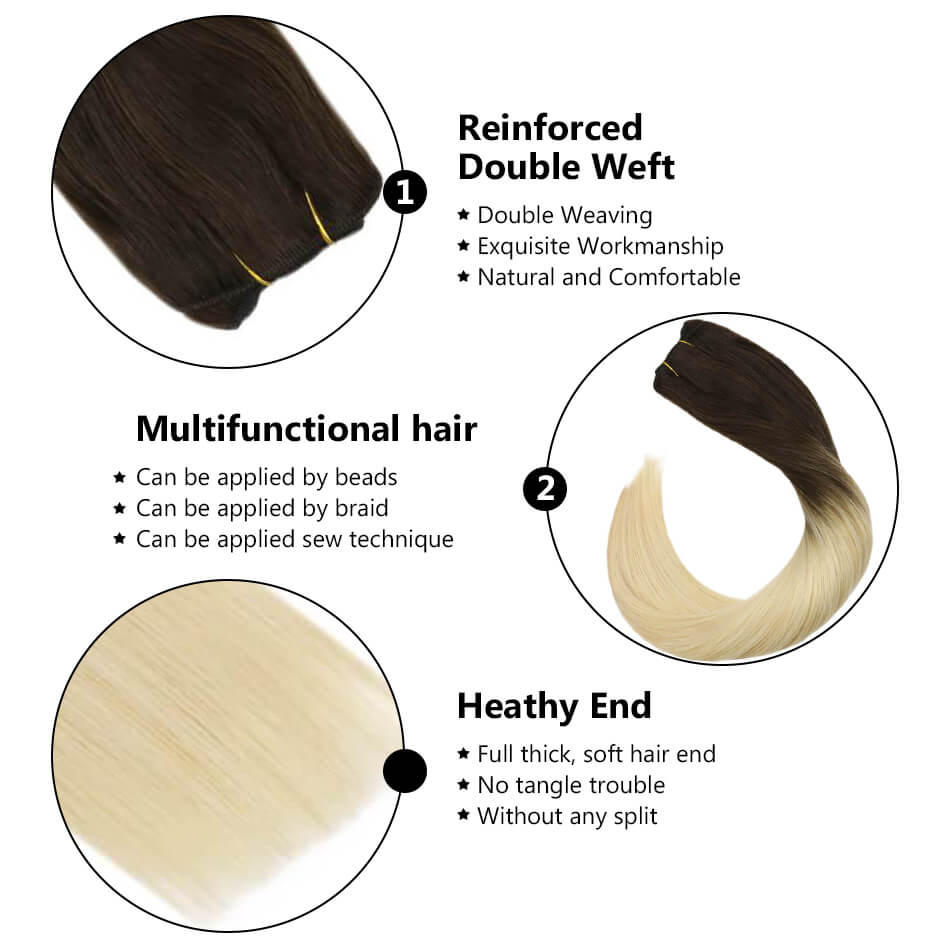 hair weft sew in hair black and blonde