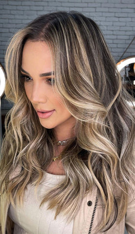 Dark Brown with Golden Balayage Hair Extensions