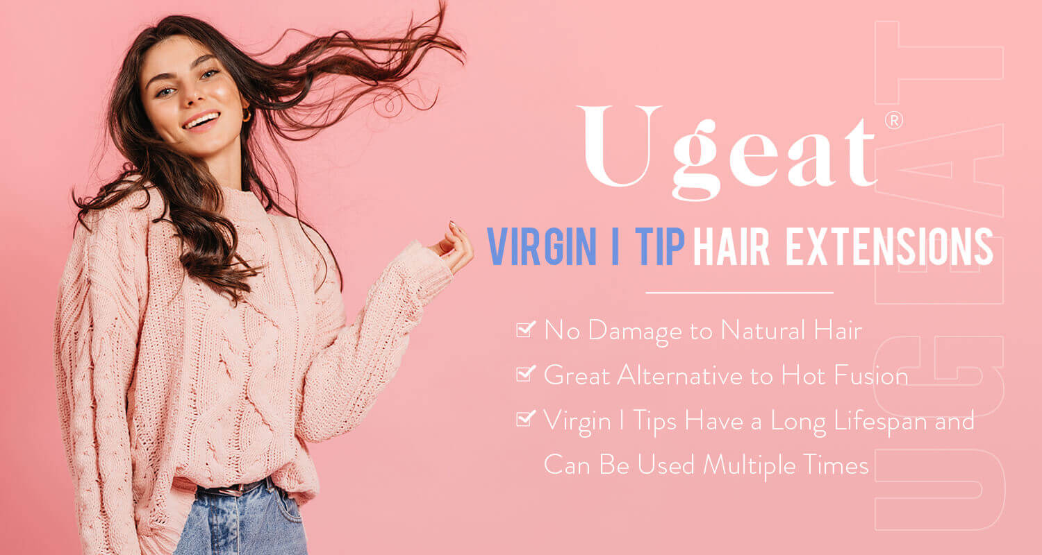 Ugeat Virgin I tip hair extension cold fushion