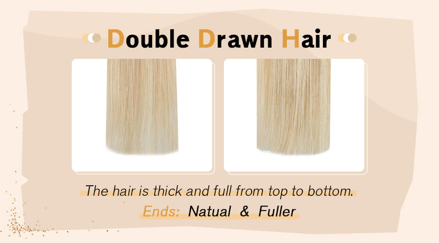 Double drawn hair tape in hair extension