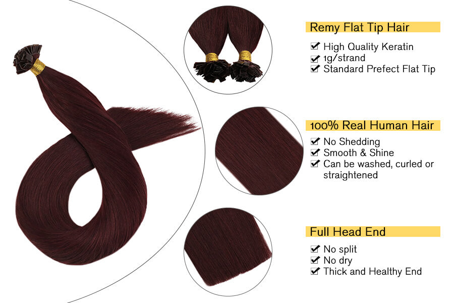 Hot Fusion Hair Extensions Keratin Tip Hair Extensions Wine Red Color
