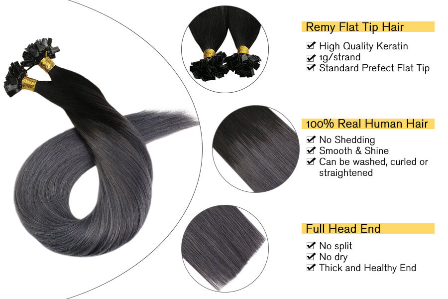 Ombre Fusion Hair Extensions Human Hair 50strands Flat Tip Real Human Hair Extensions Off Black Ombre to Silver Keratin