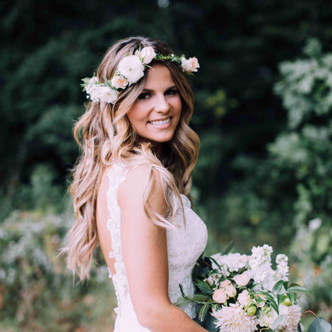 Updo With a Flower Crown