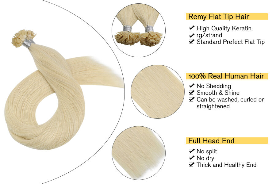Flat Tip Real Human Hair Extensions Blonde