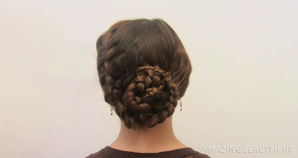 Easy Chignon with Braided Wrapped Ends