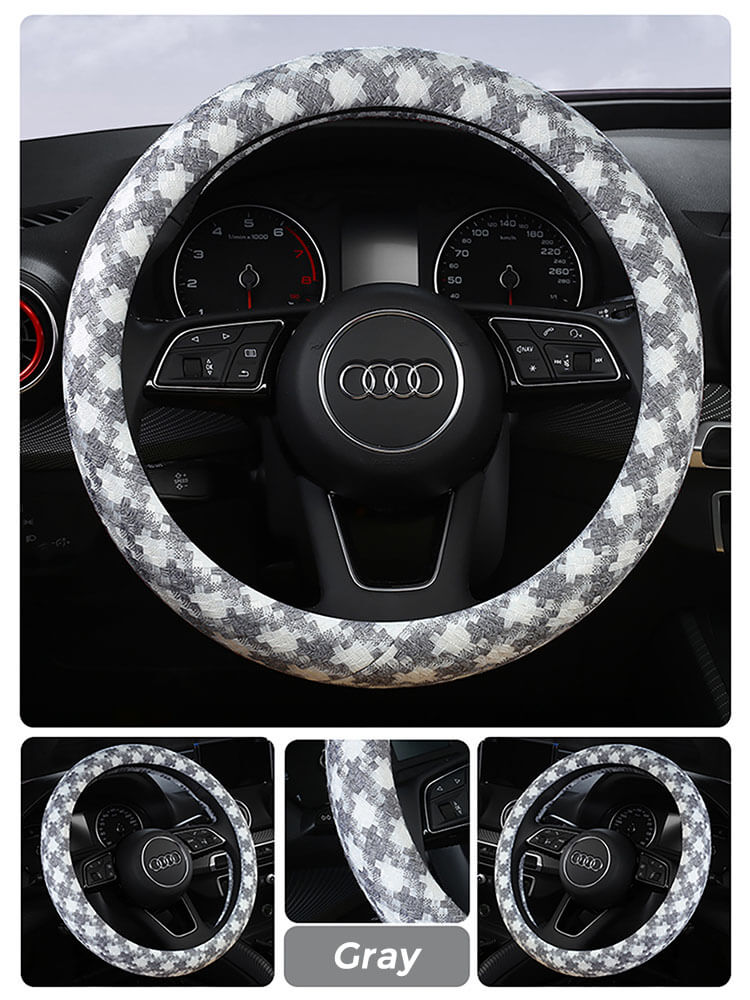 houndstooth-steering-wheel-cover-gray