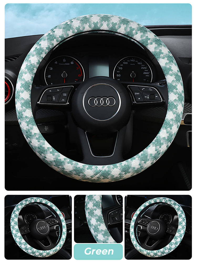 houndstooth-steering-wheel-cover-green
