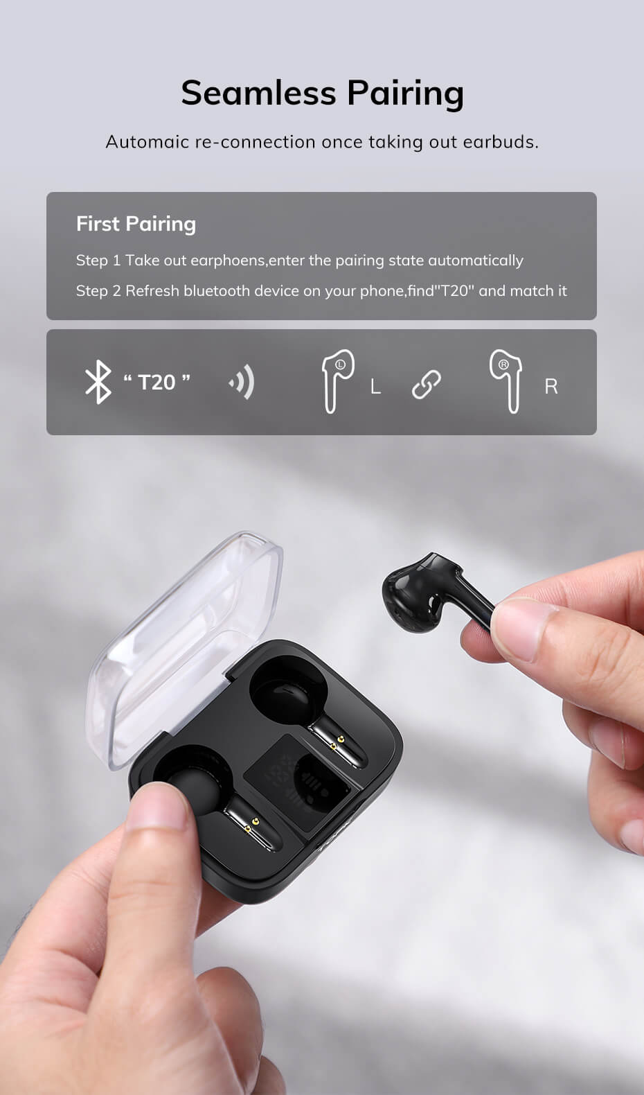 Best wireless bluetooth 5.0 led display earphone earbuds