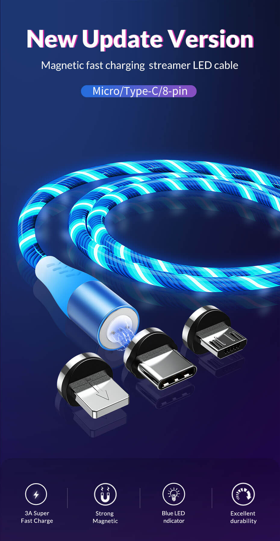 TOPK AM16 3A Fast Charging Flowing Light Magnetic Cable