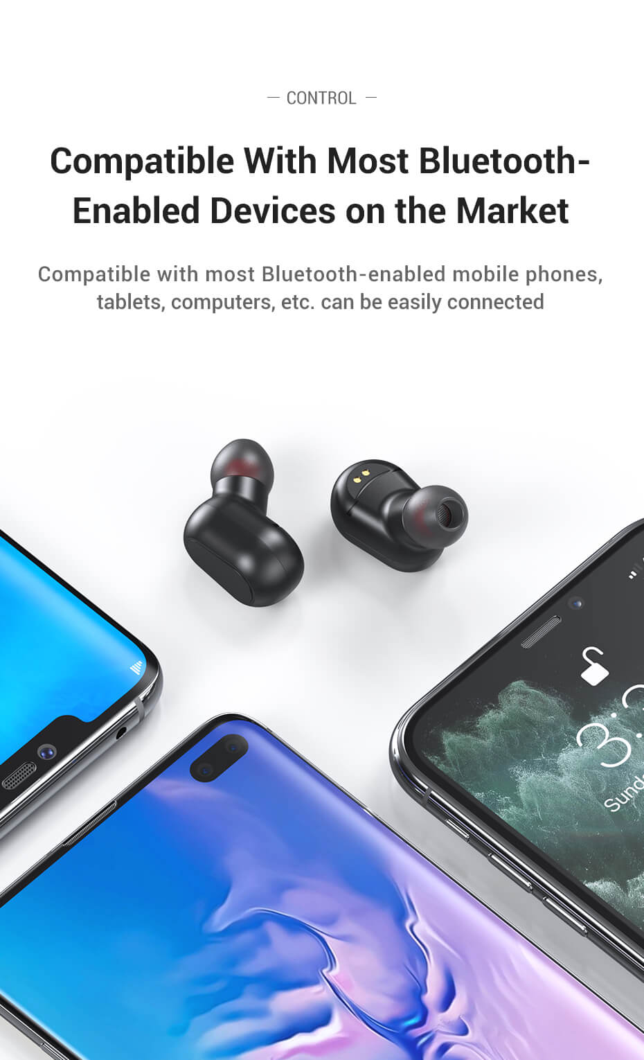 Best Bluetooth Wireless Earphone Earbuds With Mechanical Button