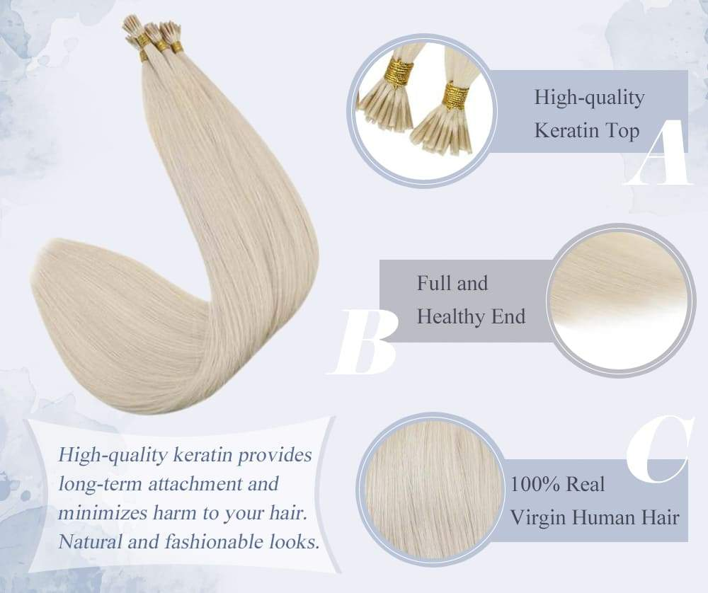 Laavoo virgin i tip human hair extensions solid color can last for 6-12 months silky straight human hair best quality virgin human hair