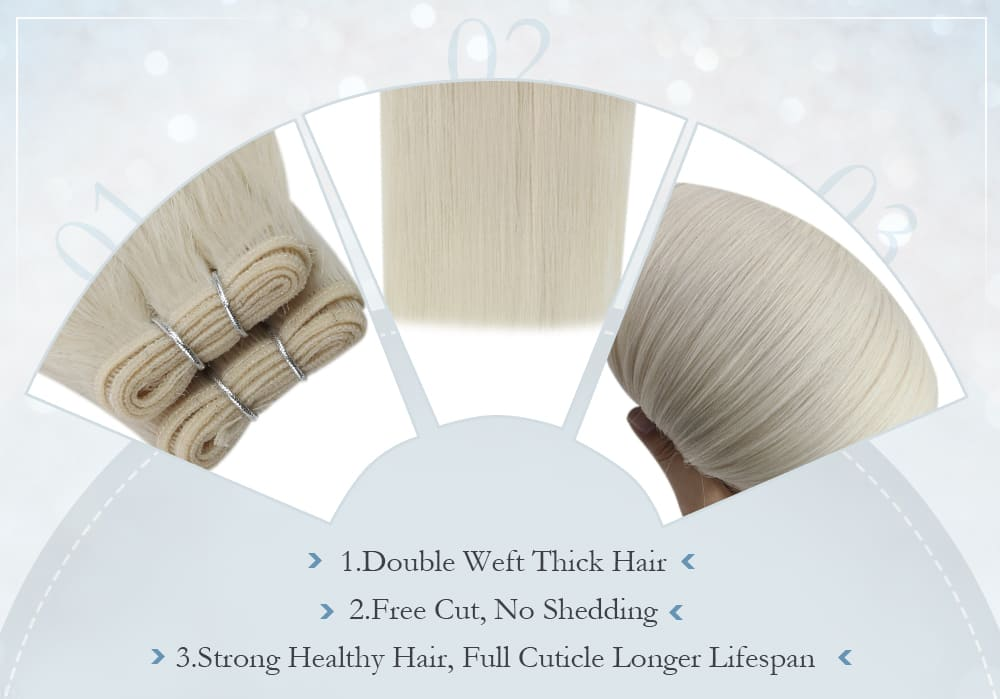 #1000 laavoo solid color white blonde human hair virgin quality human hair bundles smooth and soft hair