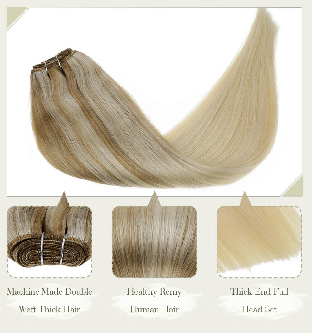 highlight brown to blonde color hair fading color machine made double weft thick hair healthy remy human hair thick end full head set