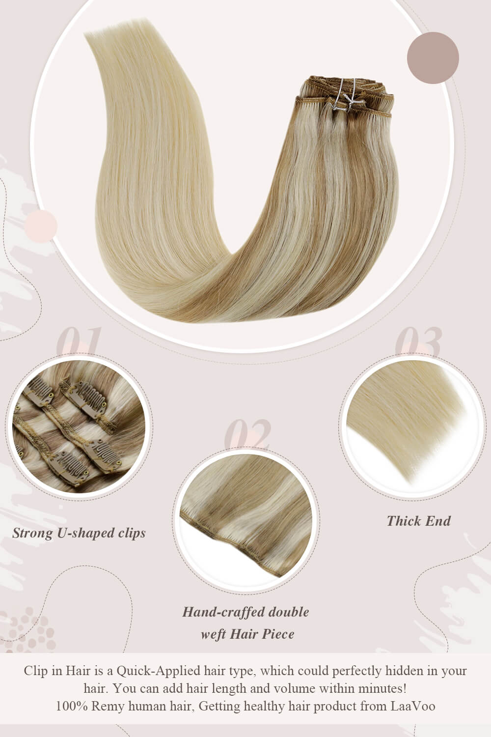 solid white blonde strong U shaped clips hand craffed double weft hair piece thick end clip in hair perfectly hidden in your hair you can add hair length and volume within minutes Remy human hair getting healthy hair