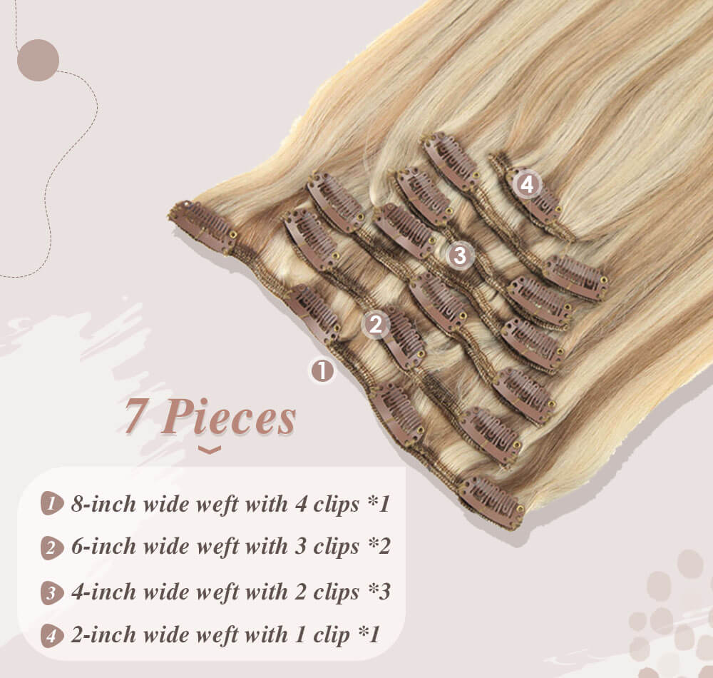 7 pieces hair 100 gram full head set small clips on it help fixed to your hair