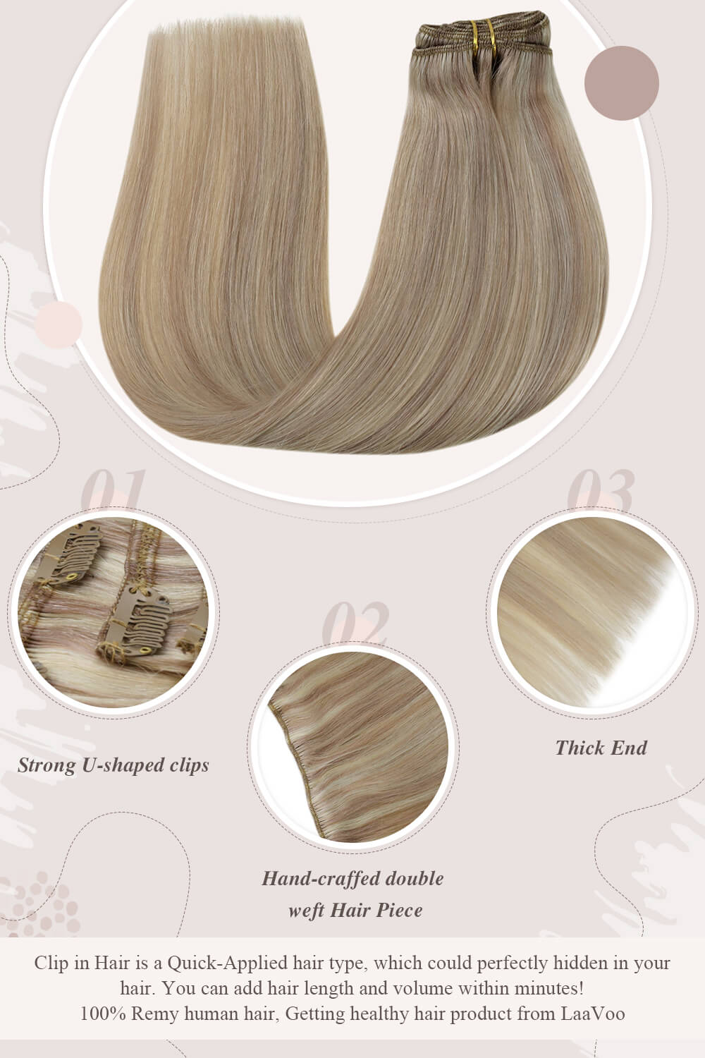 strong U shaped clips hand craffed double weft hair piece thick end clip in hair perfectly hidden in your hair you can add hair length and volume within minutes Remy human hair getting healthy hair product