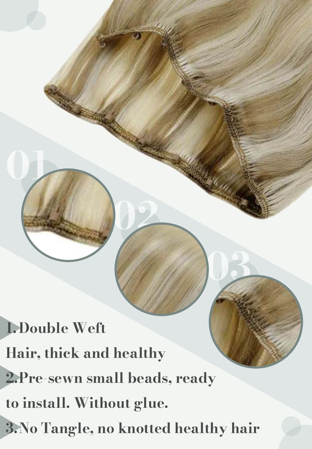 #18 22 60 laavoo light blonde hair weft micro beads cna be last for many hair weft