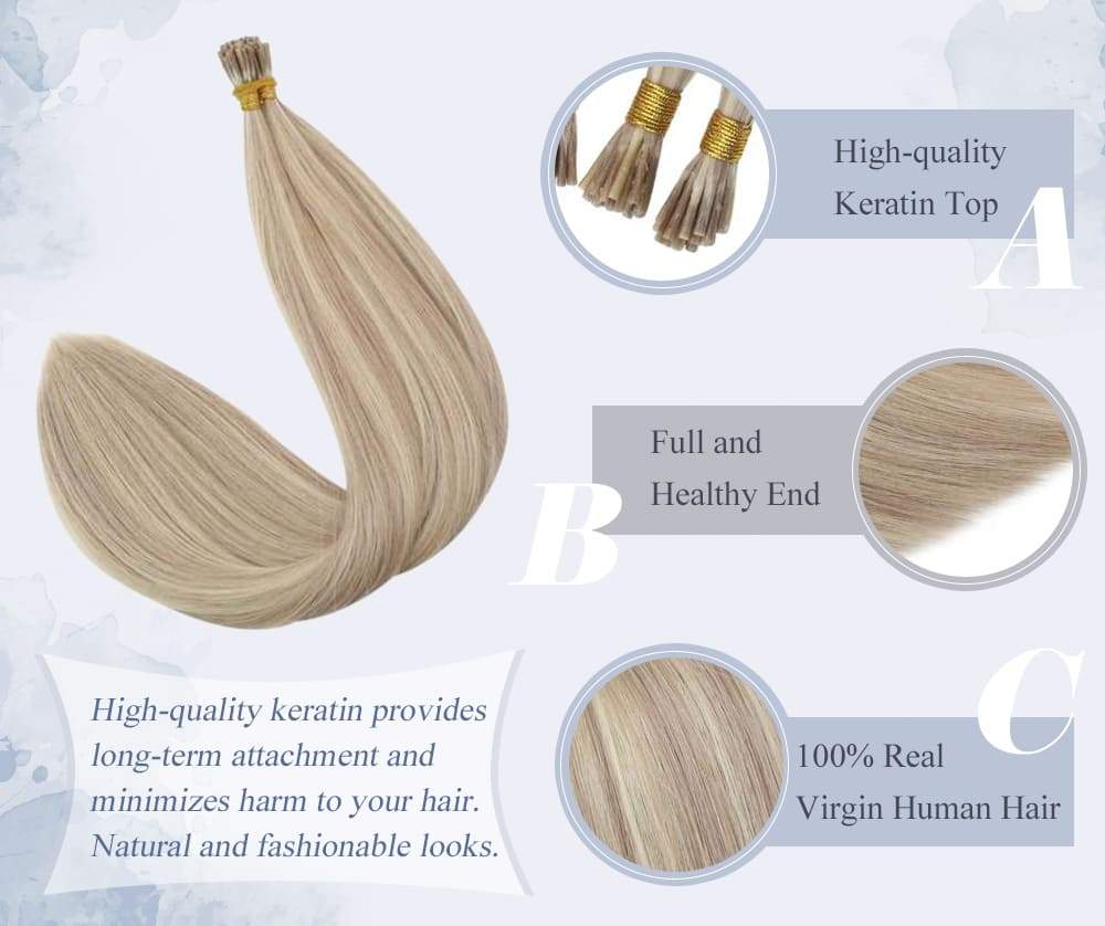 virgin hair i tip pre bonded remy human hair extensions straight style color #18/613
