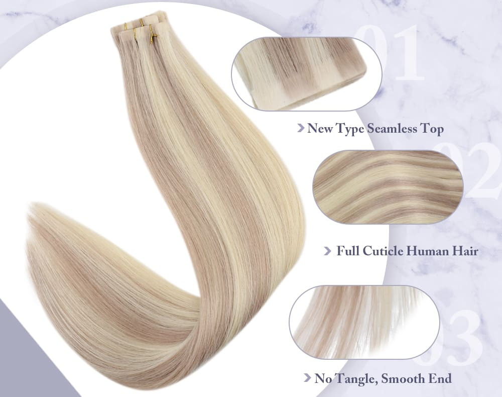 #18 613 highlight blonde human hair extensions tape in injection and seamless virgin quality low price 12.5 grams per pack