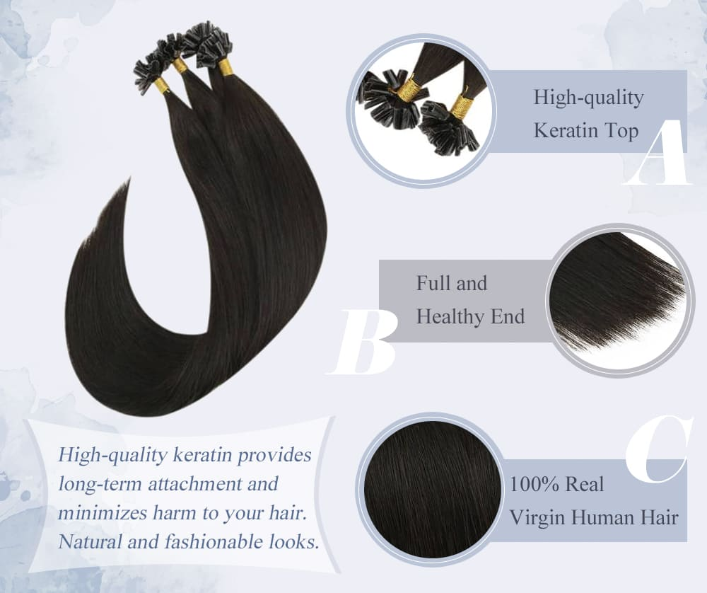 #1B laavoo solid color soft and smooth virgin keratin u tip human hair extensions high quality