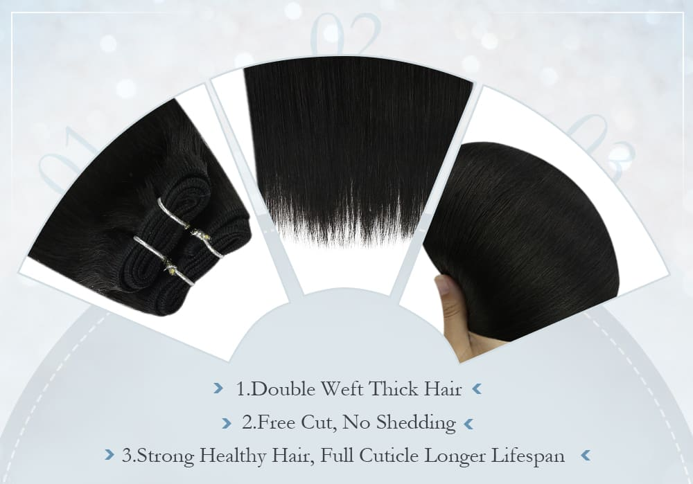 #1B solid color virgin regular machine hair bundle 10a quality seamless and invisible human hair product
