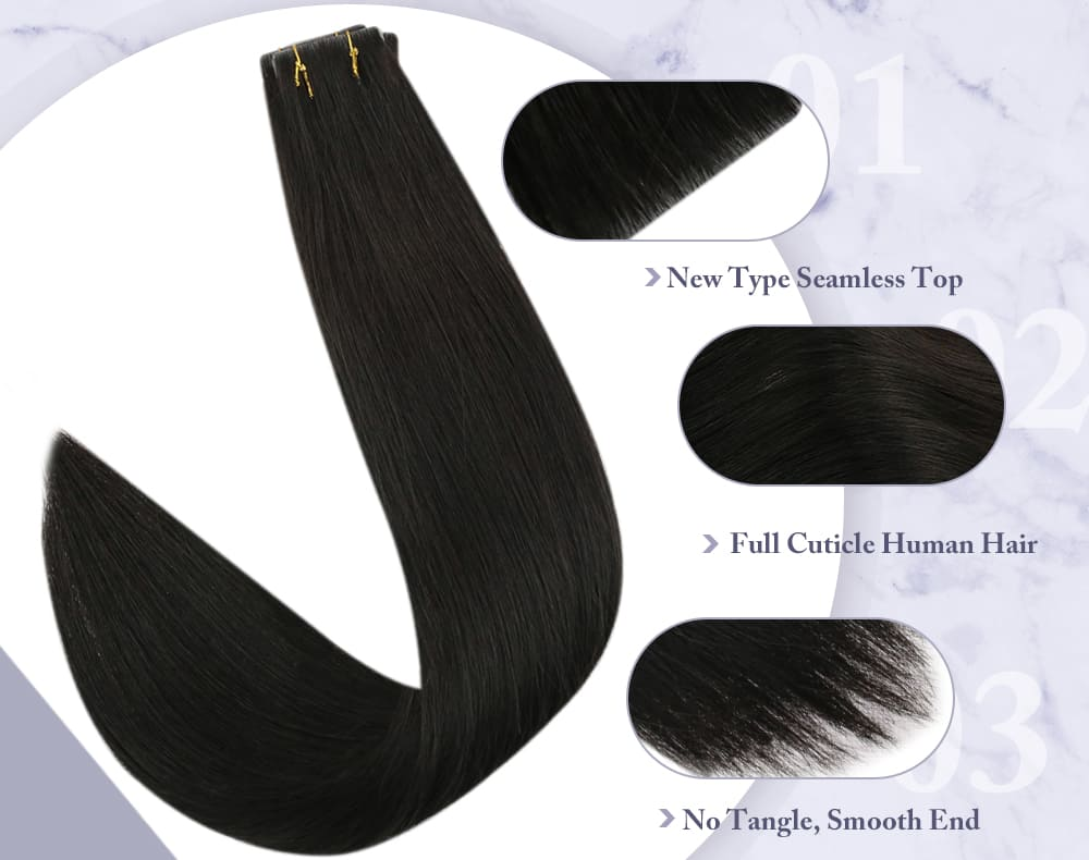 #1B virgin injection tape in hair natural black seamless and injection soft and smooth