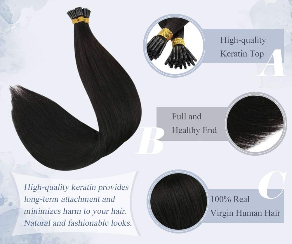 virgin hair I tip pre bonded keratin remy human hair extensions straight style color #1 Jet black