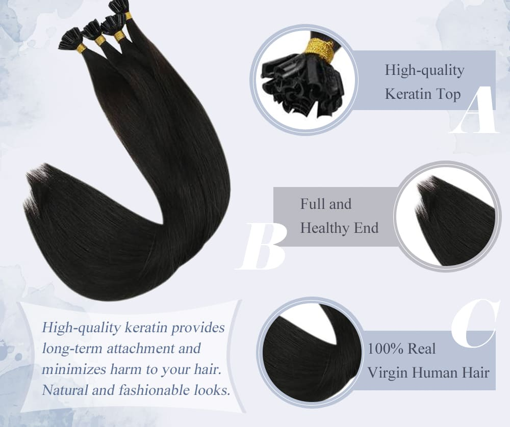 #1 laavoo solid color soft and smooth virgin keratin u tip human hair extensions high quality