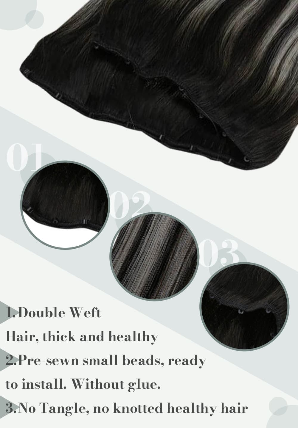1b laavoo micro beads hair weft real Brazilian human hair extensions silky straight soft and natural human hair solid color off black hair
