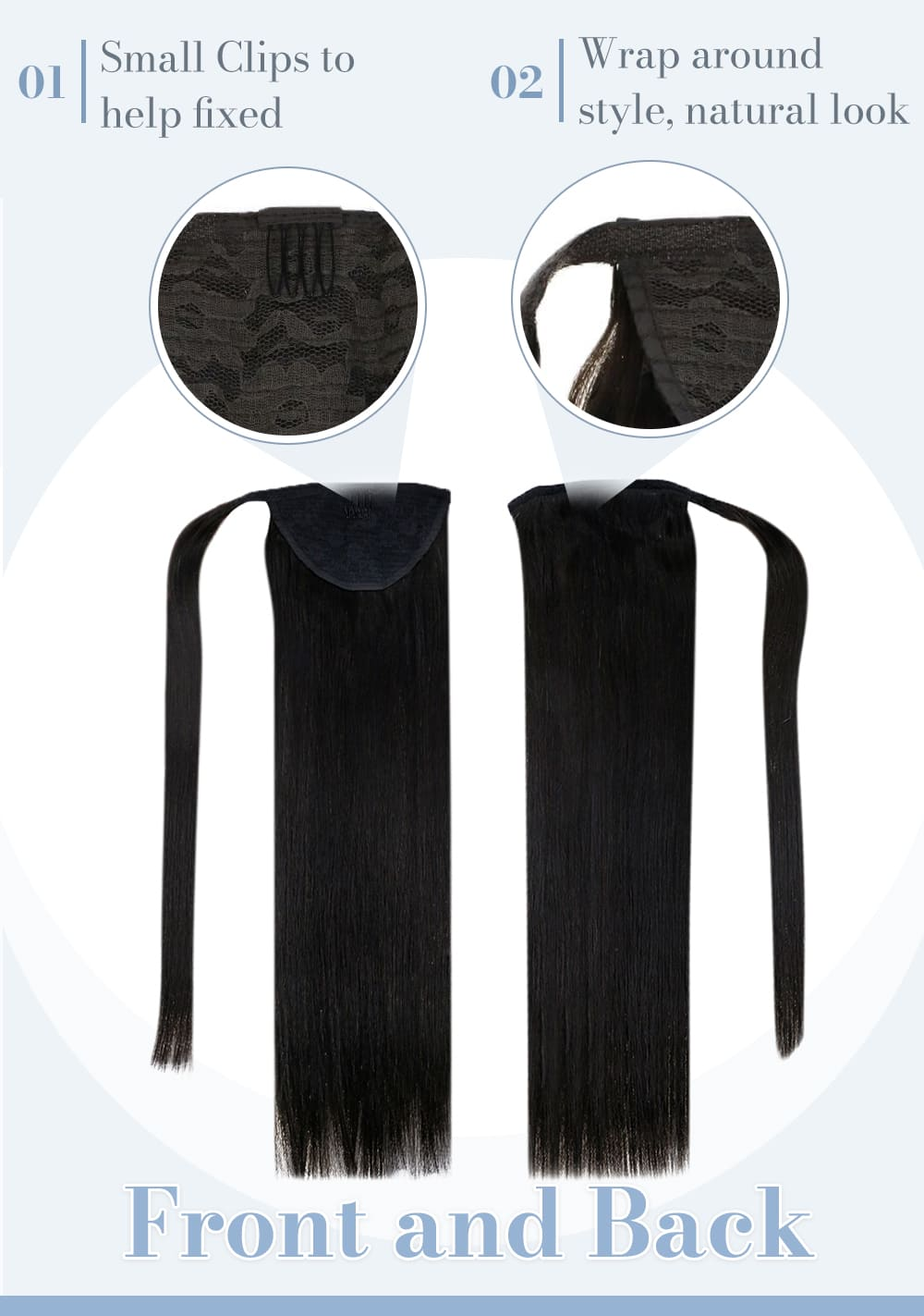1b laavoo solid color pomytail natural black human hair extensions blend well with your hair can be dyded and curled