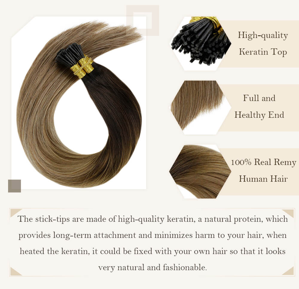 balayage brown to blonde hair stick tip high quality derain hair extensions pre bonded hair remy human hair silk smooth hair i tip hair seamless ready to apply