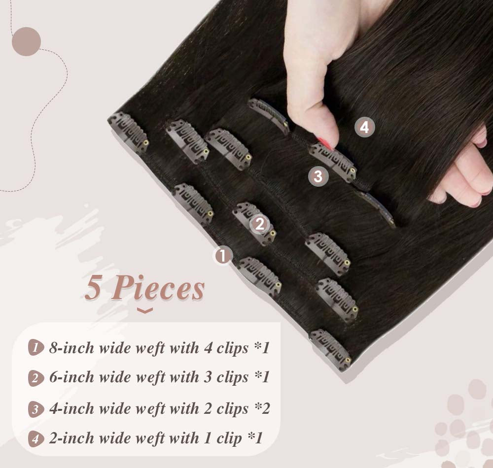 5 pieces hair 70 gram small clips on it help fixed to your hair