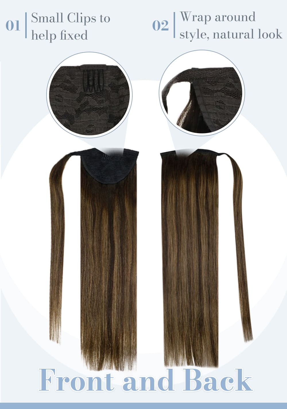 2 8 2laavoo balayage brown remy ponytail human hair extensions seamless and invisible human hair extensions can be last for a long time