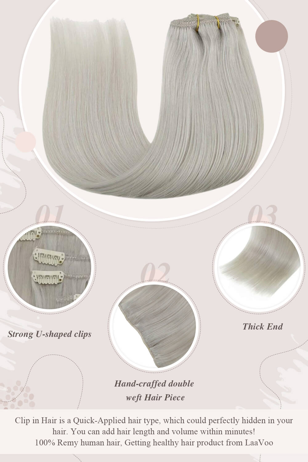 Clip in hair extensions remy human hair solid white blonde color hair