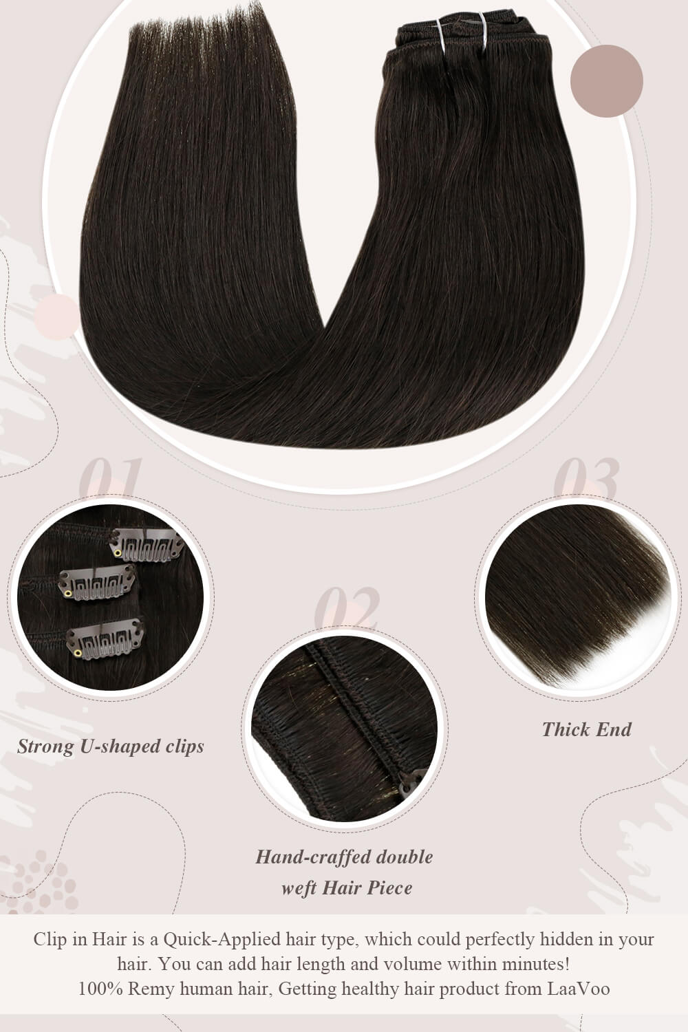 clip in hair extensions darkest brown solid color hair high quality hair