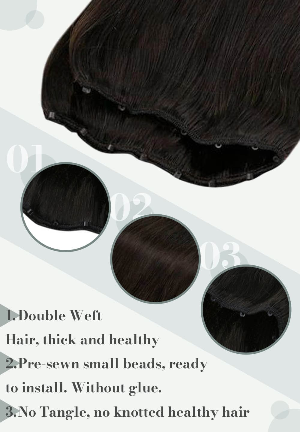 #2 laavoo real human hair extensions can be last for 3 to 6 months blend well with your hair extensions