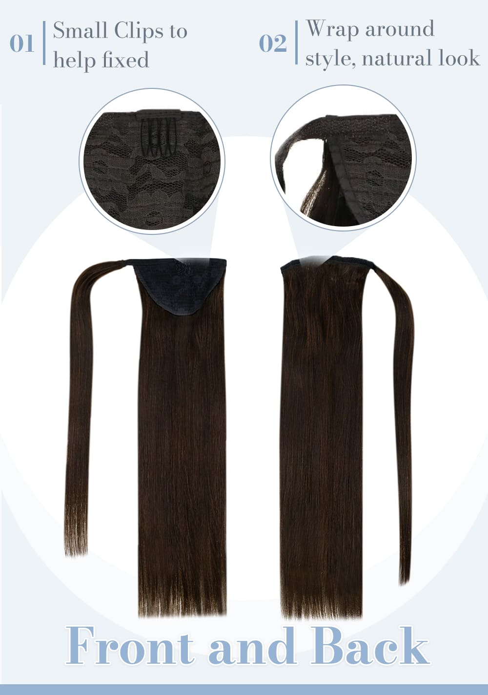2 laavoo solid color ponytail human hair soft and natural human hair extensions can be dyed and straighten bled well with your hair extension