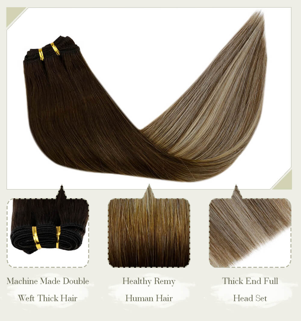 balayage brown to blonde fading color machine made double weft thick hair healthy remy human hair thick end full head set