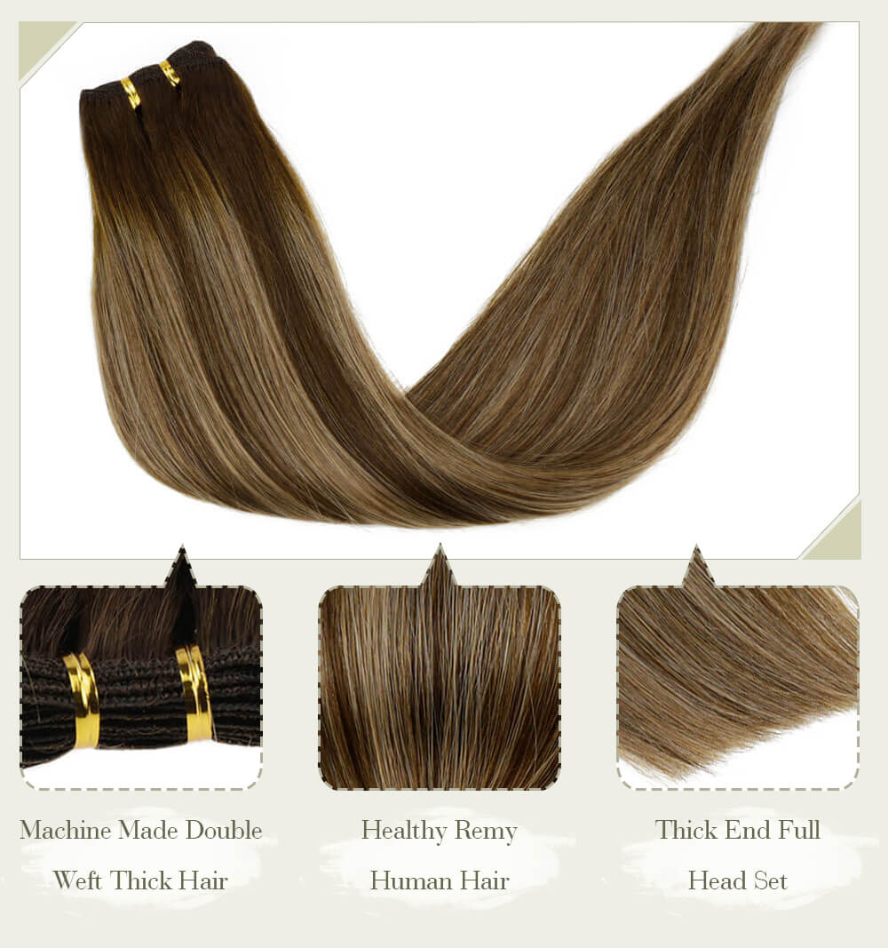 ombre color brown to blonde fading color machine made double weft thick hair healthy remy human hair thick end full head set