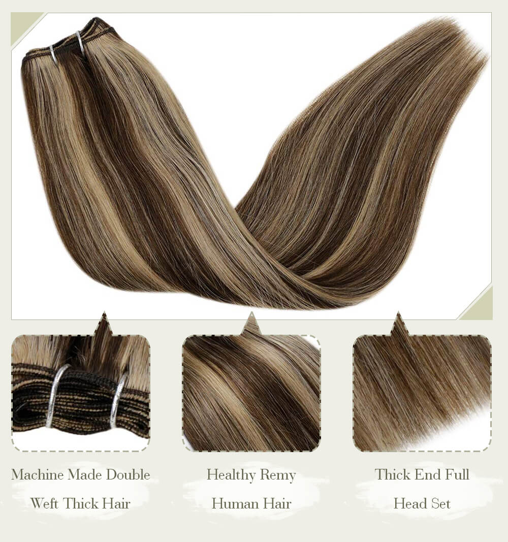 balayage machine made double weft thick hair healthy remy human hair thick end full head set