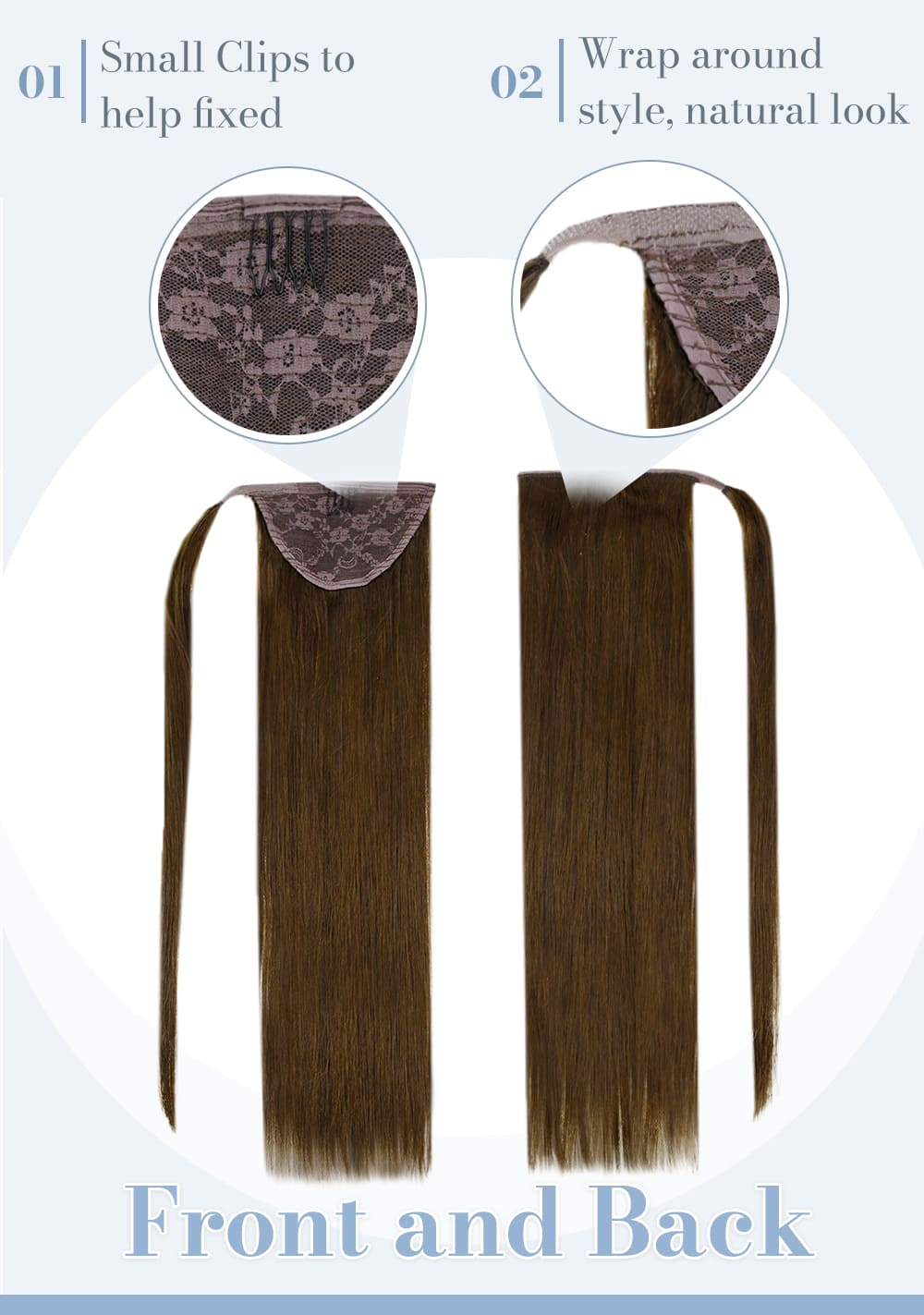 laavoo solid color ponytail human hair extension medium brown can last for a long time