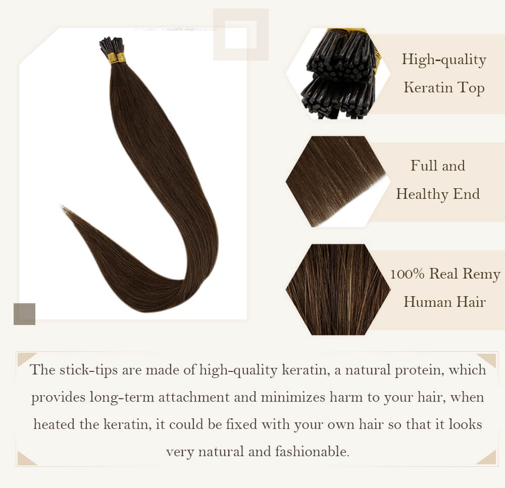 dark brown solid color balayage brown to blonde hair stick tip high quality derain hair extensions pre bonded hair remy human hair silk smooth hair i tip hair seamless ready to apply