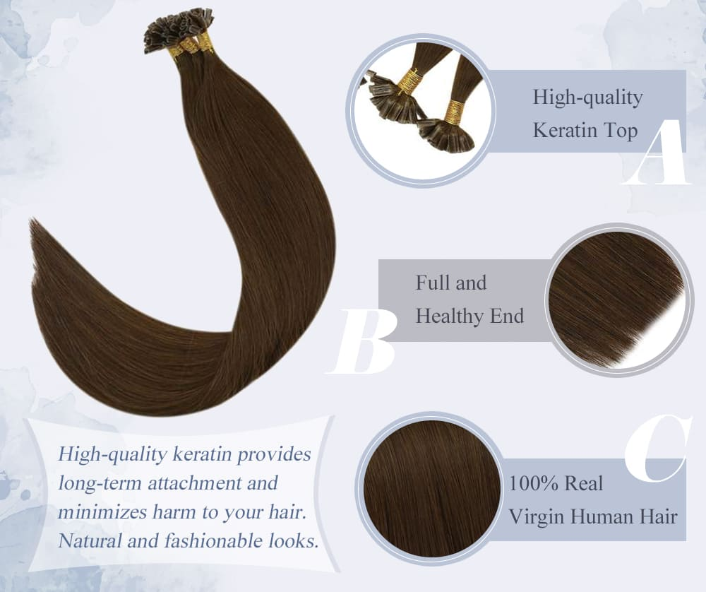 #4 laavoo solid color virgin u tip human hair soft and smooth high quality keratin 100% real human hair extensions