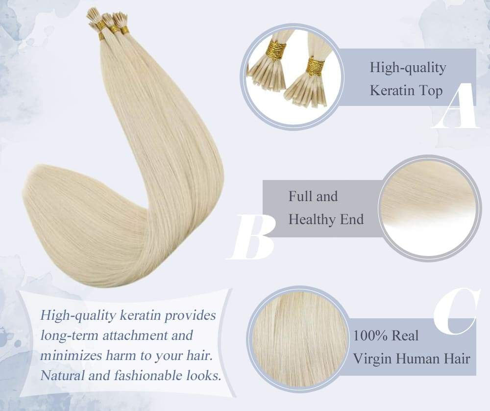 laavoo solid color platinum blonde i tip human hair extensions silky straight invisible and seamless blend well with your hair