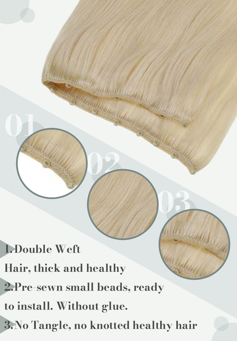 #60 platinum blonde micro hair weft silky straight human hair extensions can be dyed and straighten