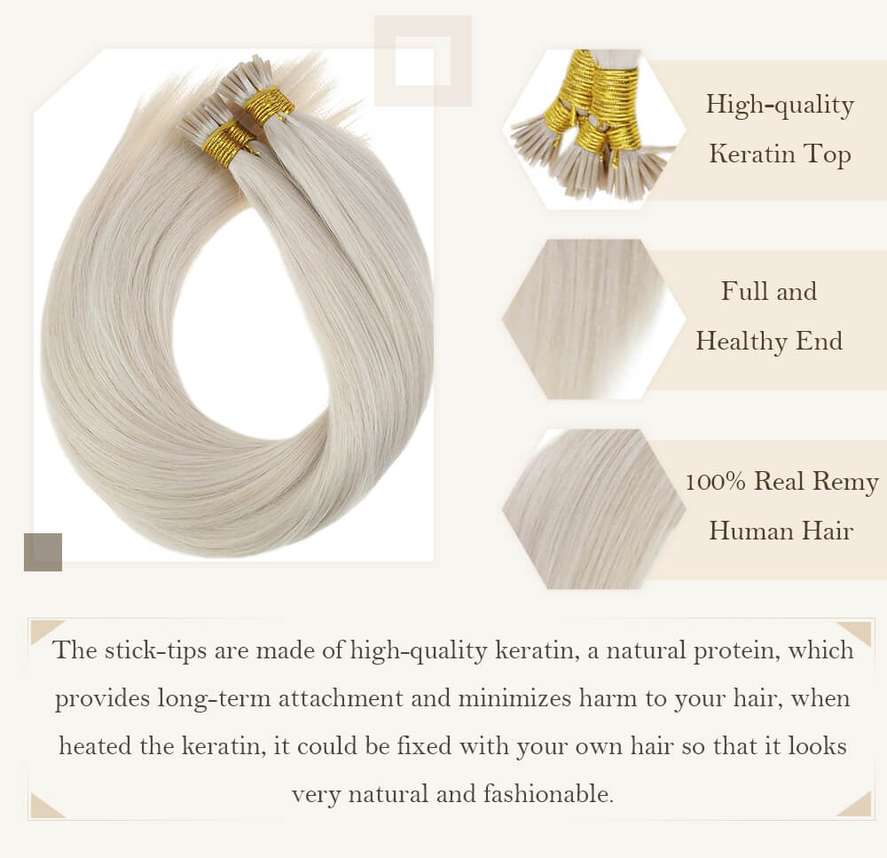 solid blonde i tip hair extensions remy human hair easily apply kerain hair