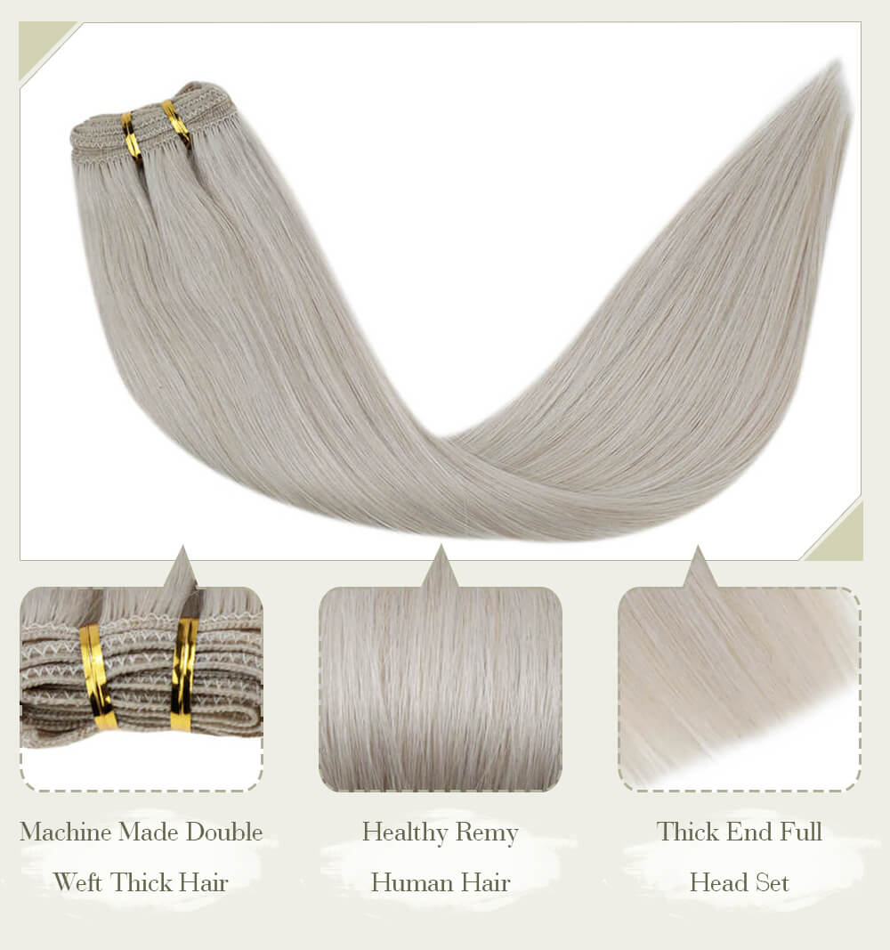 blonde color fading color machine made double weft thick hair healthy remy human hair thick end full head set